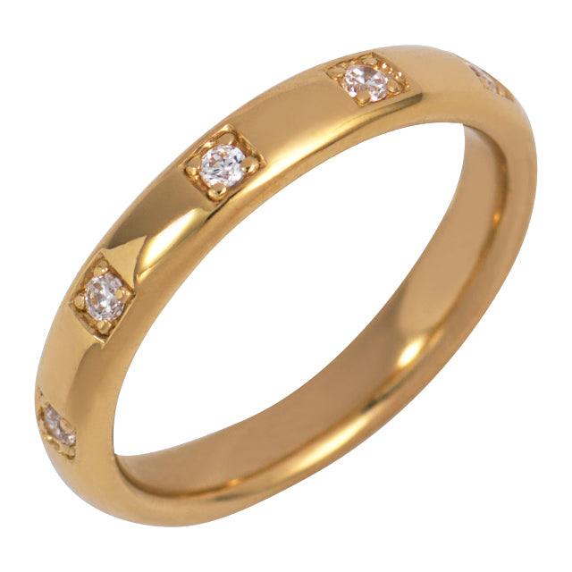 Gold Single Band Ring with White Stones