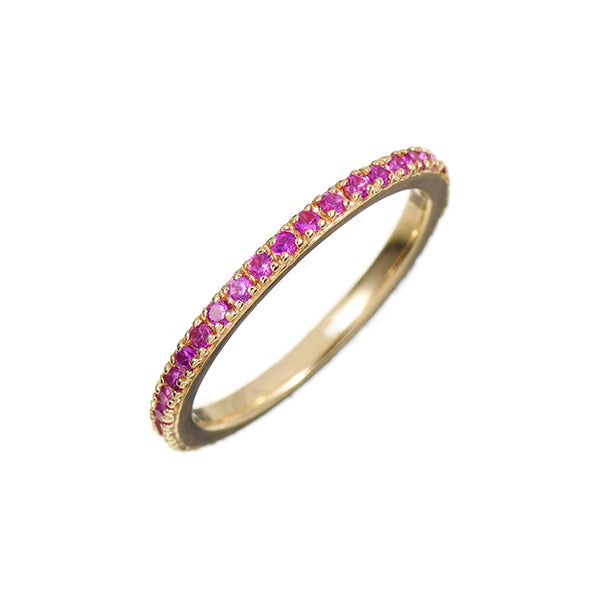 Gold Stacking Ring with Pink Stones