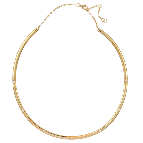 Gold Bangle Necklace with White Stones