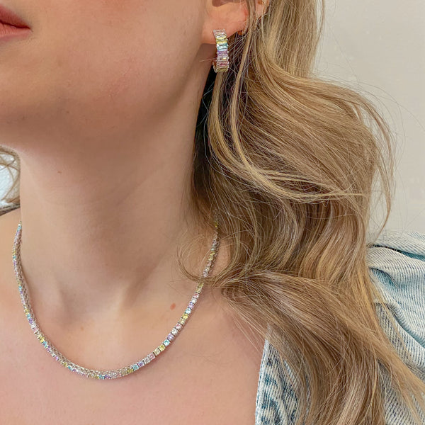 Silver Pastel Rainbow Emerald Cut Hoops