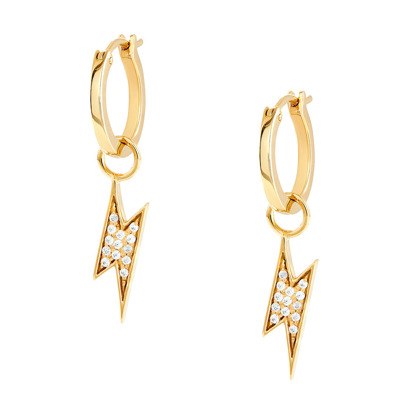 Lightning Bolt Charm Hoops