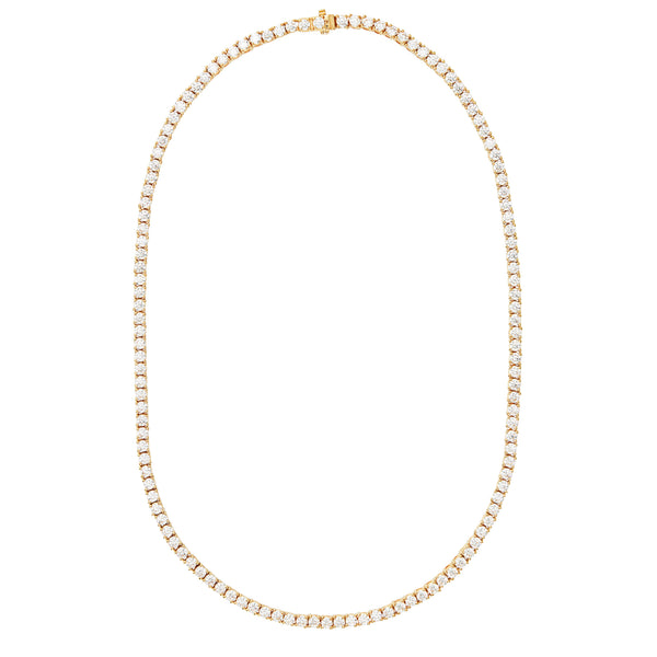 Gold Tennis Necklace with White Stones