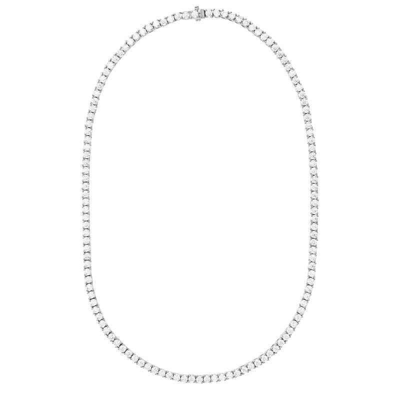 Silver Tennis Necklace with White Stones