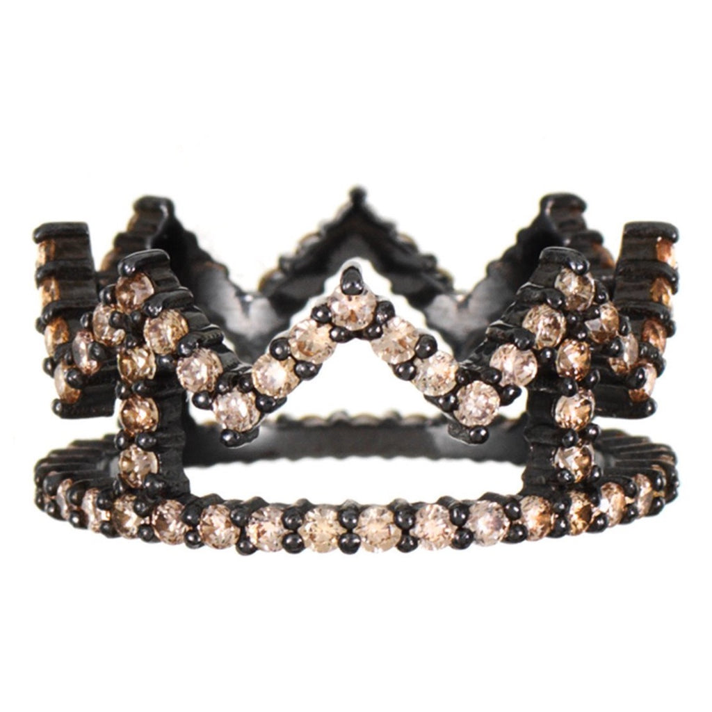 Black Rhodium Crown Ring with Champagne Stones