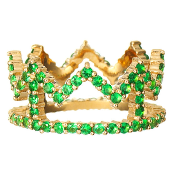 Gold Crown Ring with Green Stones
