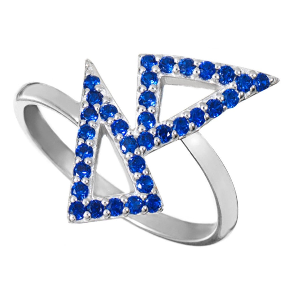 Silver Kite Ring with Blue Stones