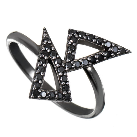 Black Rhodium Kite Ring with Black Stones