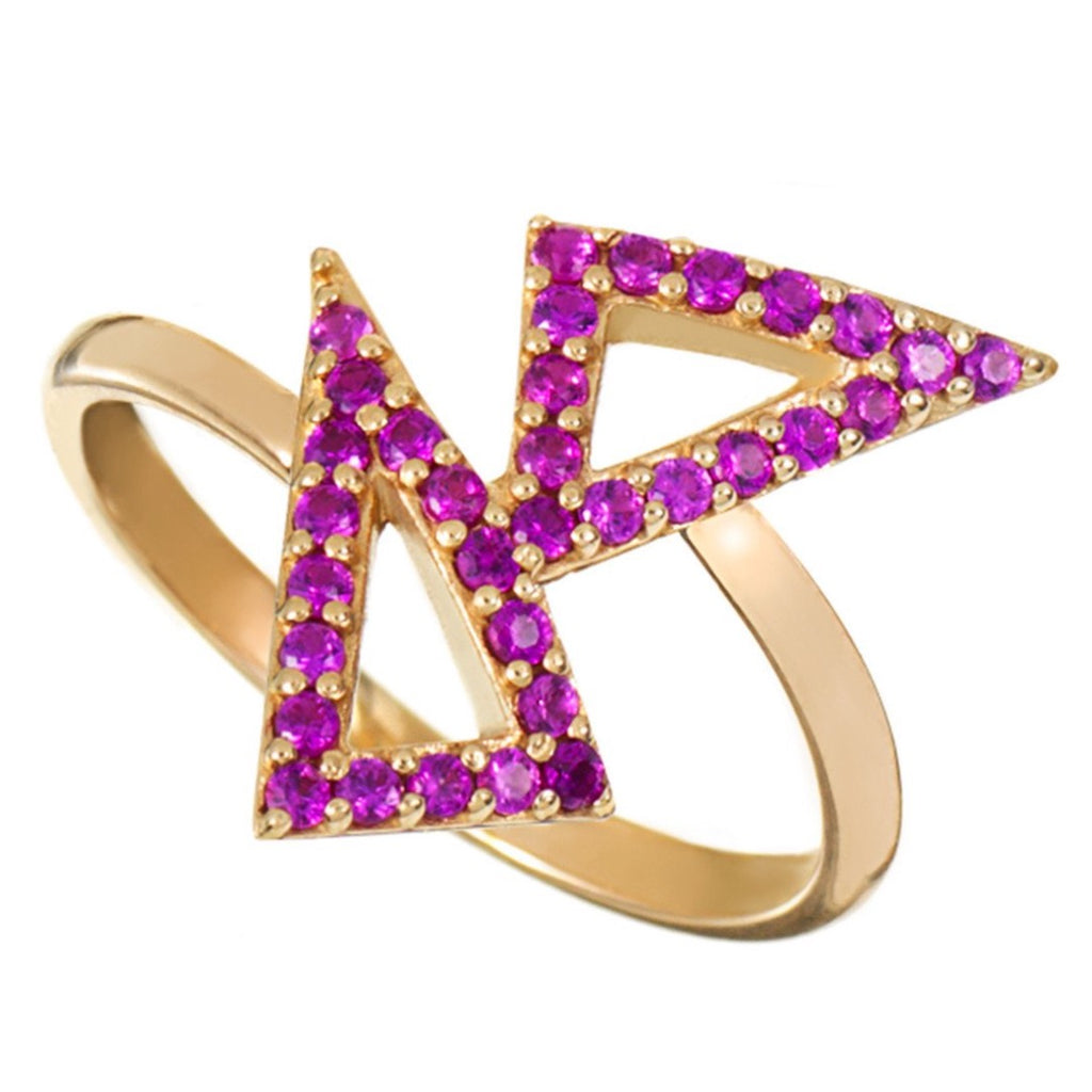 Gold Kite Ring with Pink Stones