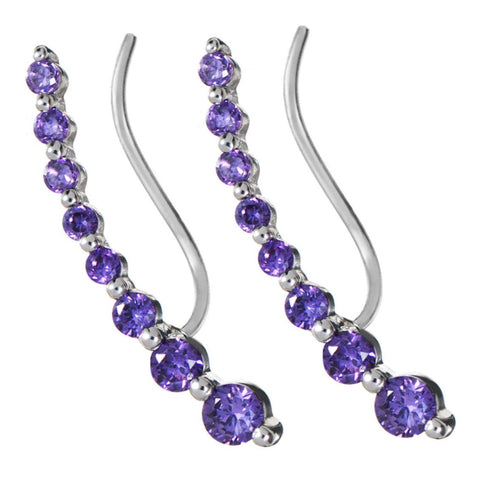Silver Wing Stud Earrings with Purple Stones
