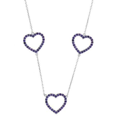 Silver Heart Trilogy Necklace with Purple Stones