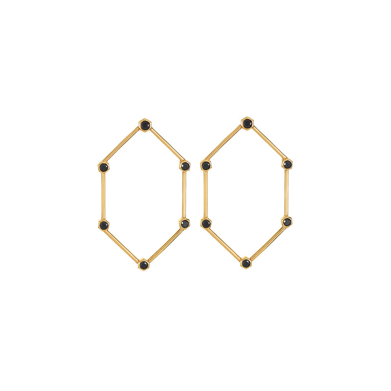 Gold Hexagon Earrings with Black Stones