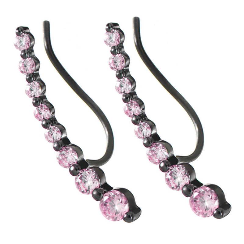 Black Rhodium Wing Stud Earrings with Rhodolite Stones