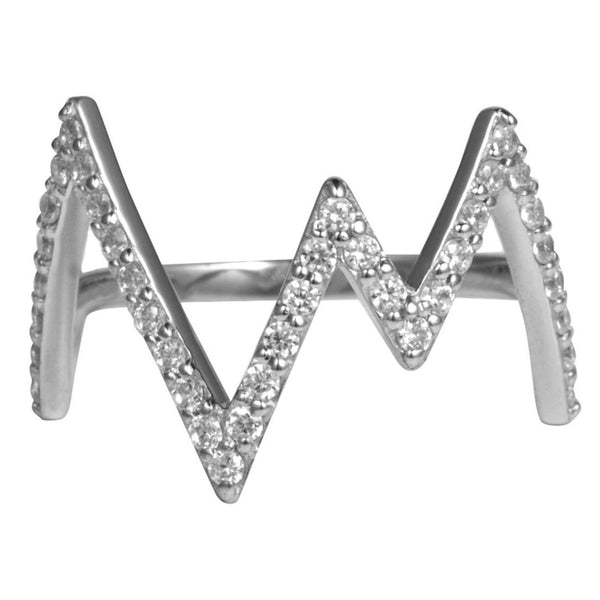 Silver Heartbeat Ring with White Stones