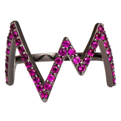 Black Rhodium Heartbeat Ring with Pink Stones
