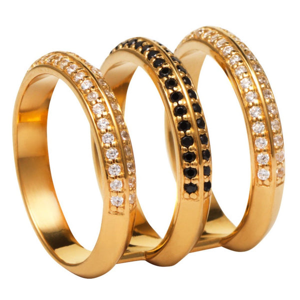 Gold Triple Band Ring with White and Black Stones
