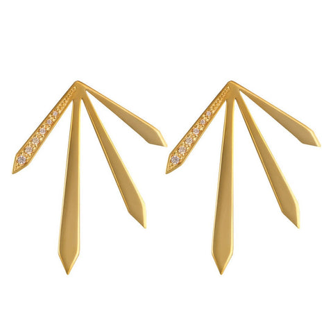 Gold 4 Spike Stud Earrings with Champagne Stones