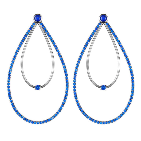 Black Rhodium Double Peardrop Hoop Earrings with Blue Stones