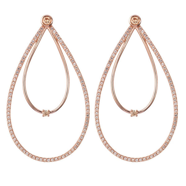 Rose Gold Double Peardrop Hoop Earrings with Champagne Stones
