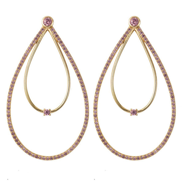 Gold Double Peardrop Hoop Earrings with Rhodolite Stones