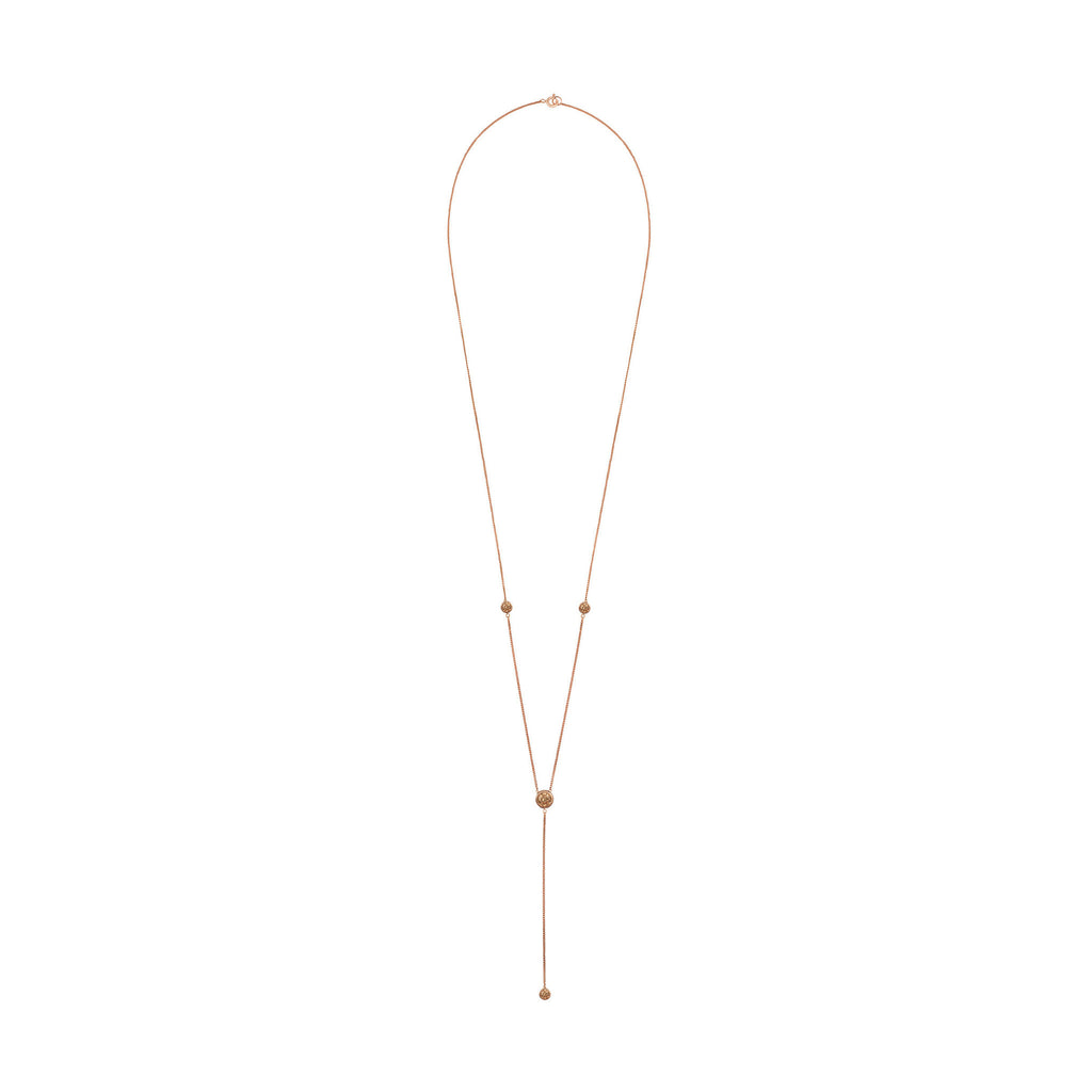 Rose Gold Deep V Necklace with Champagne Stones