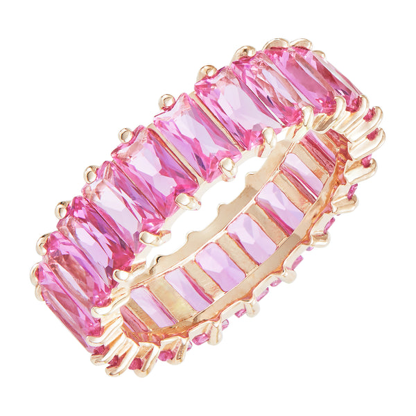 Rose Gold Emerald Cut Ring with Pink Stones