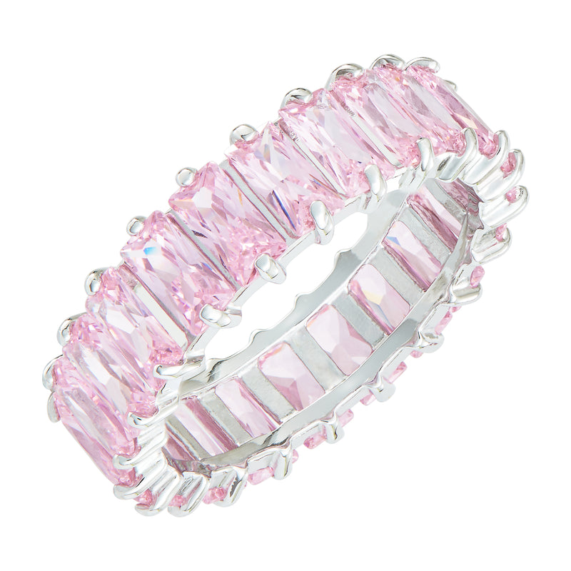 Silver Emerald Cut Ring with Light Pink Stones