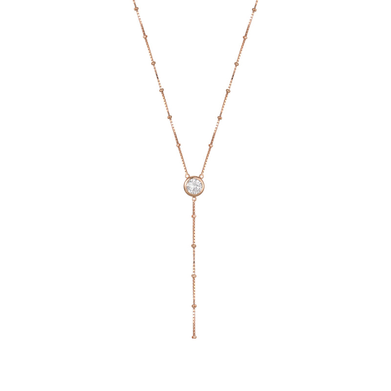 Rose Gold Dot Chain Necklace with White Stones