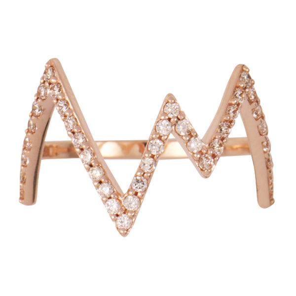 Rose Gold Heartbeat Ring with Champagne Stones