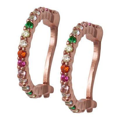 Rose Gold Rainbow Huggy Hoops