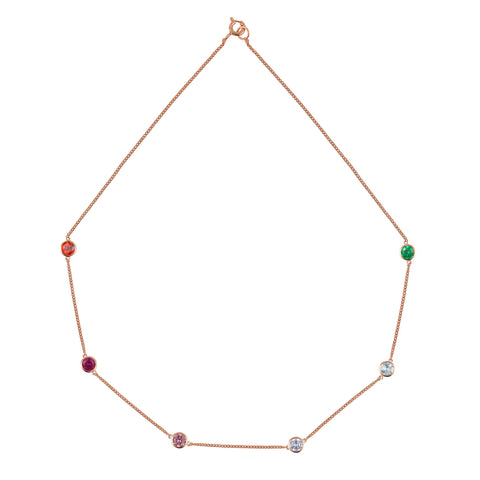 Rose Gold Rainbow Tight Chain Necklace