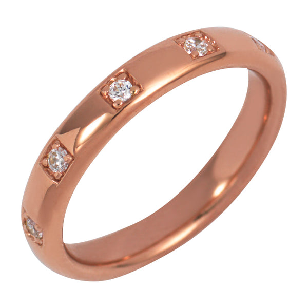 Rose Gold Single Band Ring with Champagne Stones