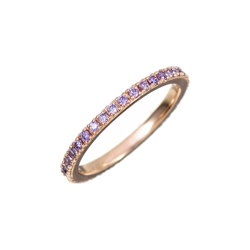 Rose Gold Stacking Ring with Lilac Stones