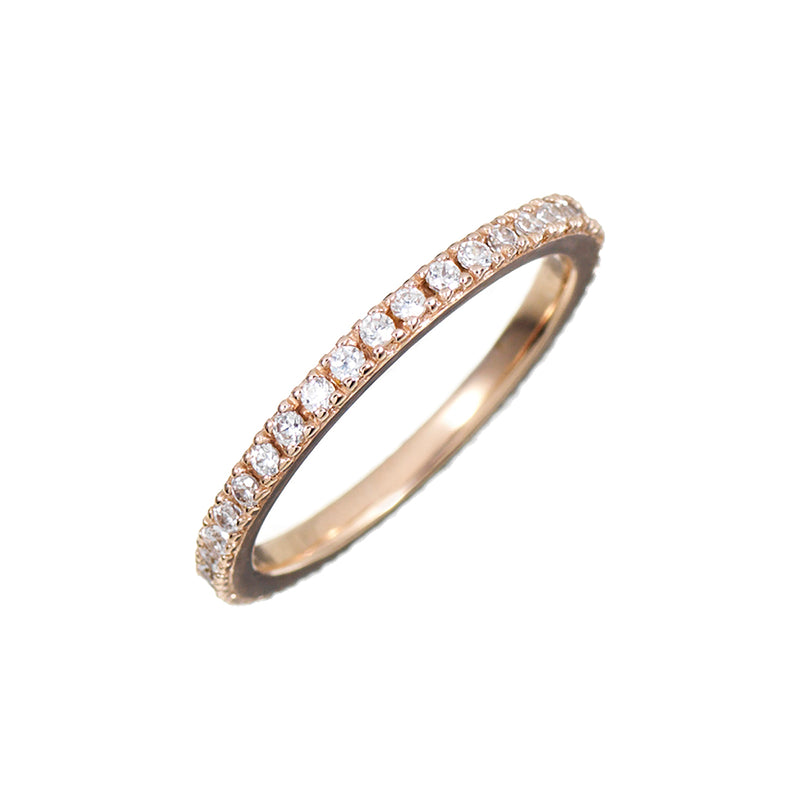Rose Gold Stacking Ring with White Stones