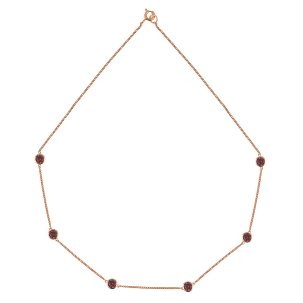 Rose Gold Tight Chain Necklace with Rhodolite Stones