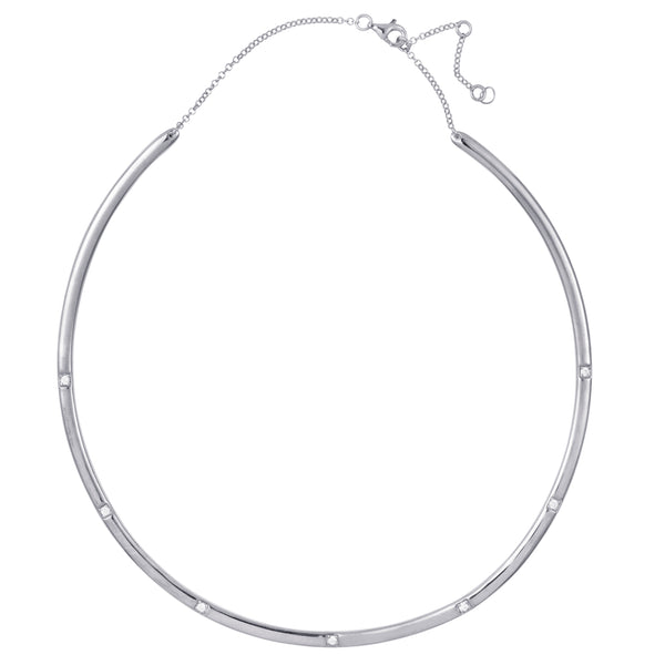 Silver Bangle Necklace with White Stones