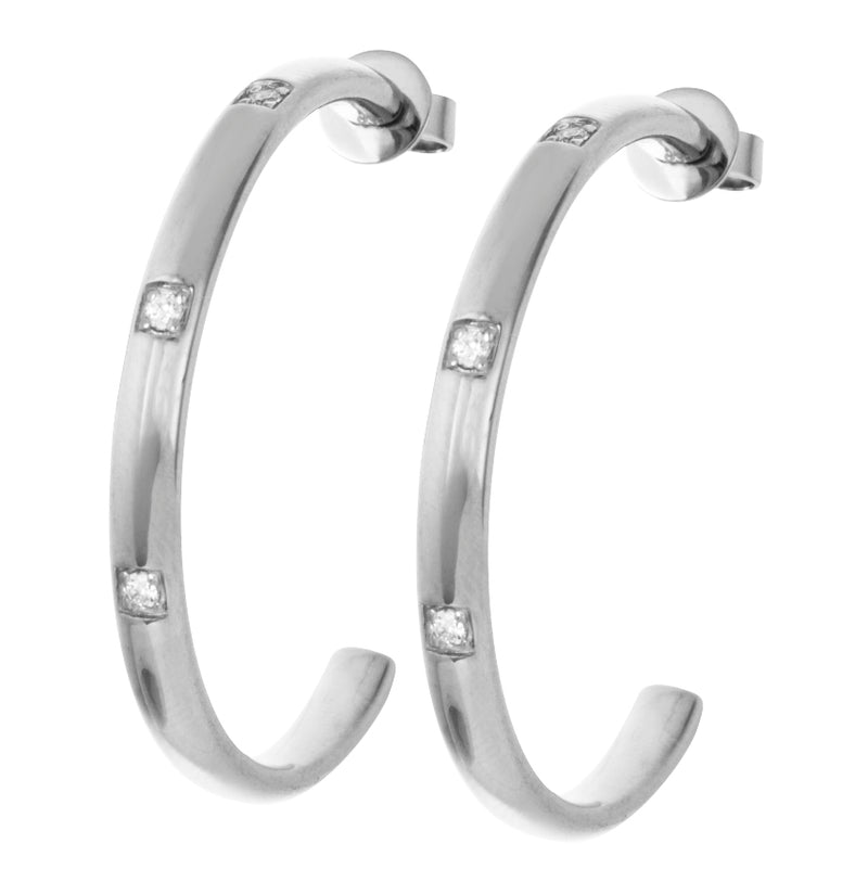 Silver Large Hoops with White Stones