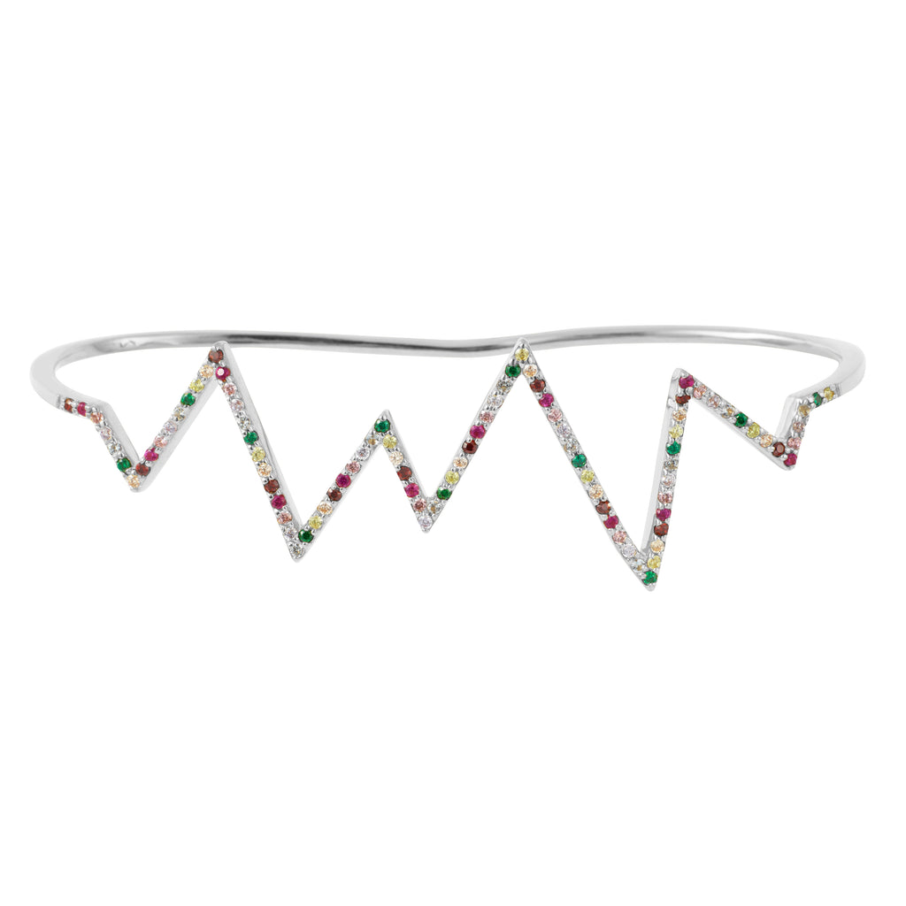 Silver Heartbeat Hand Cuff with Rainbow Stones
