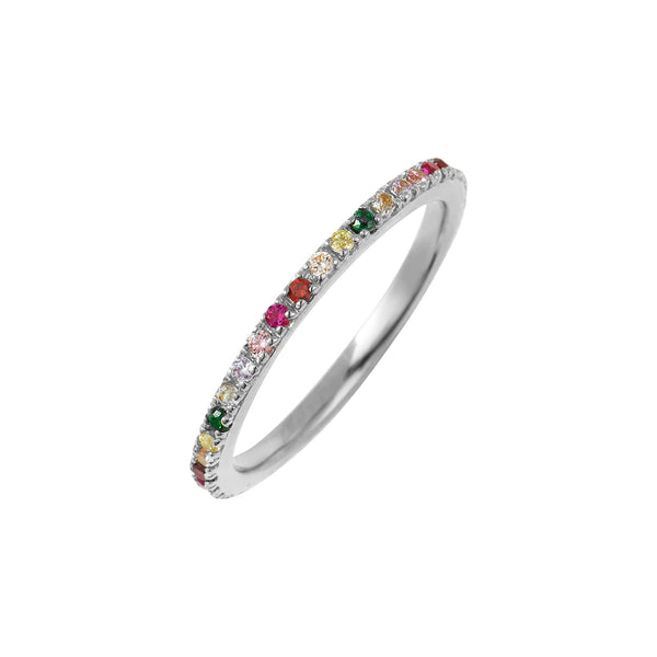 Silver Rainbow Stacking Ring