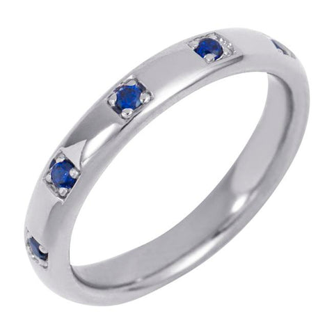 Silver Single Band Ring with Blue Stones