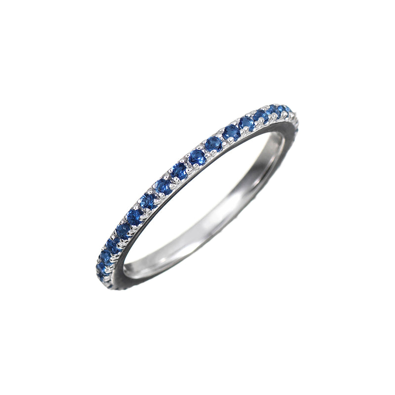 Silver Stacking Ring with Blue Stones