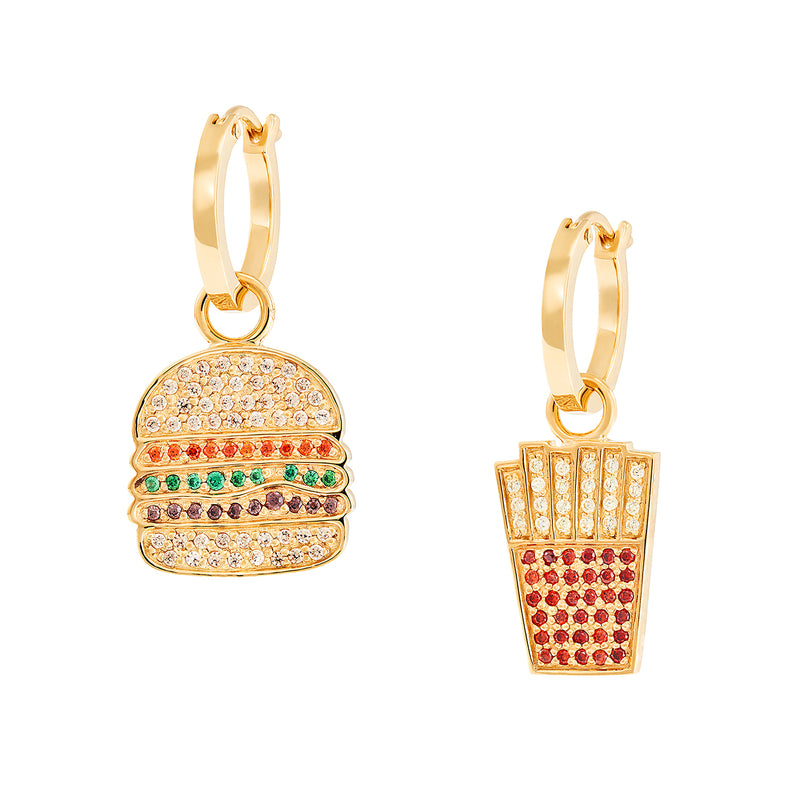 Burger & Chips Charm Hoops