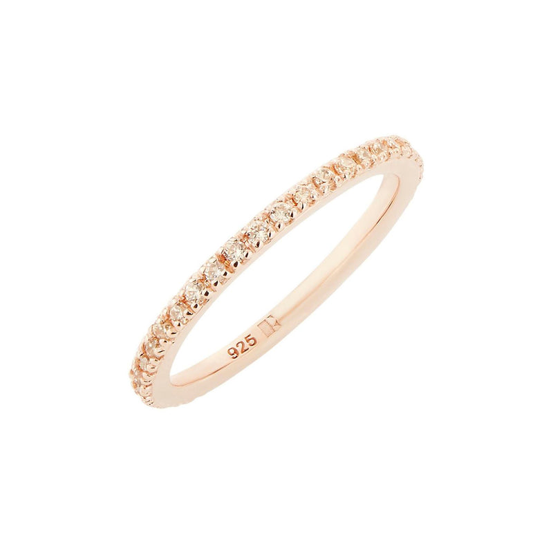 Rose Gold Stacking Ring with Champagne Stones