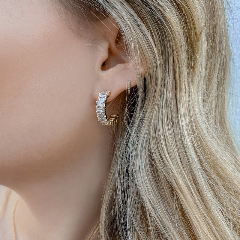 Gold Emerald Cut Hoops with White Stones