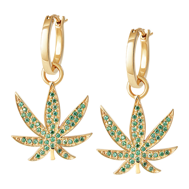 Hemp Leaf Charm Hoops