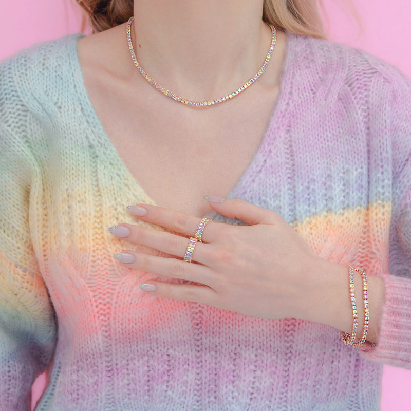 Rose Gold Pastel Rainbow Tennis Necklace