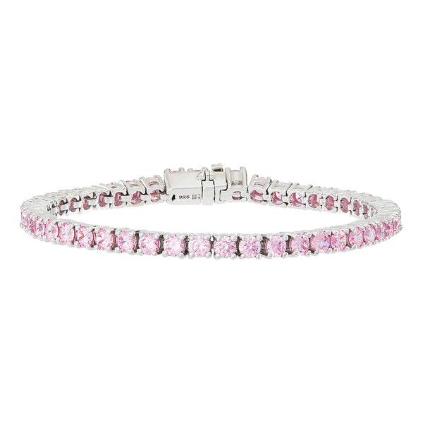 Silver Tennis Bracelet with Light Pink Stones