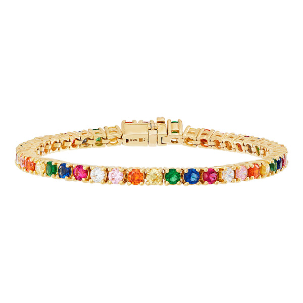 Gold Rainbow Tennis Bracelet