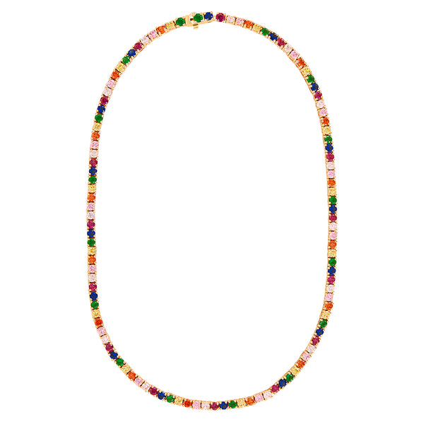 Gold Rainbow Tennis Necklace