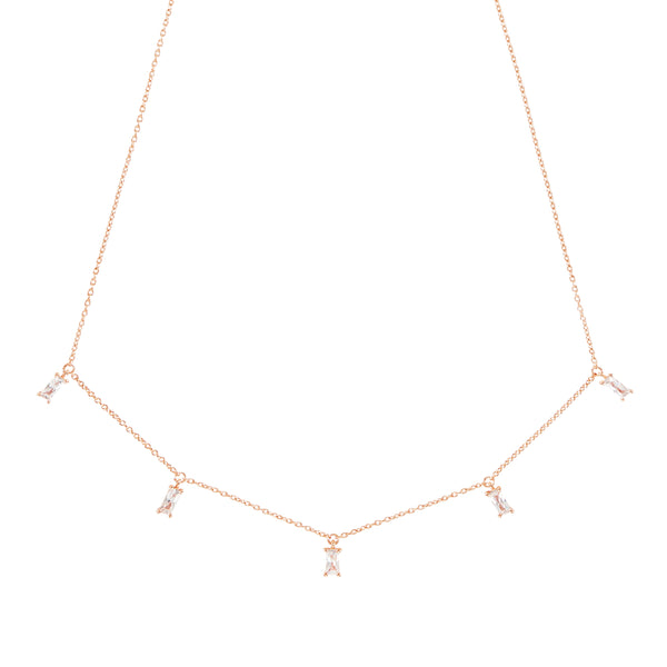 Rose Gold Emerald Cut Necklace with White Stones