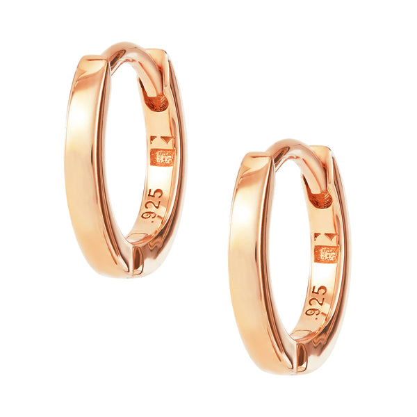 Rose Gold Plain Huggy Hoops